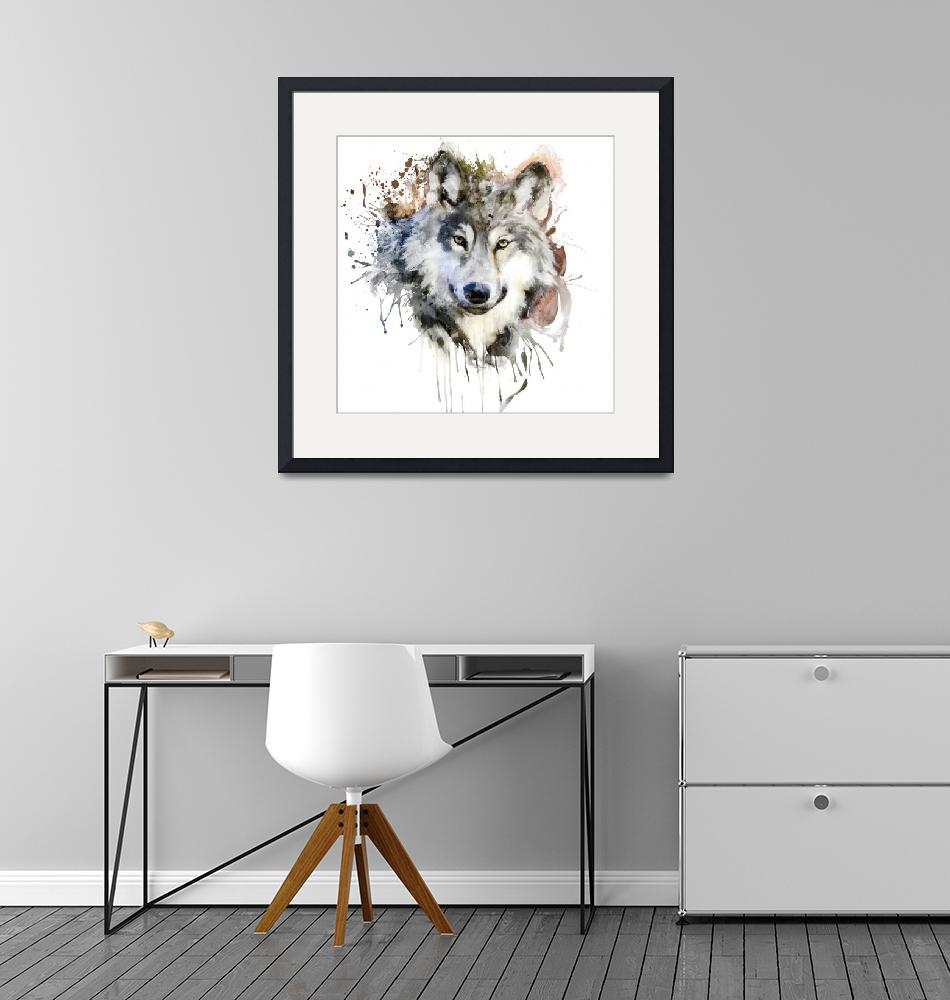 """""""Wolf Watercolor Portrait""""  (2021) by MarianVoicu"""