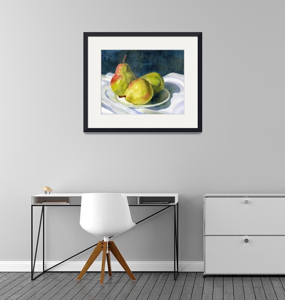 """""""Three Green Pears"""" (2008) by Pacific-NW-Watercolors"""
