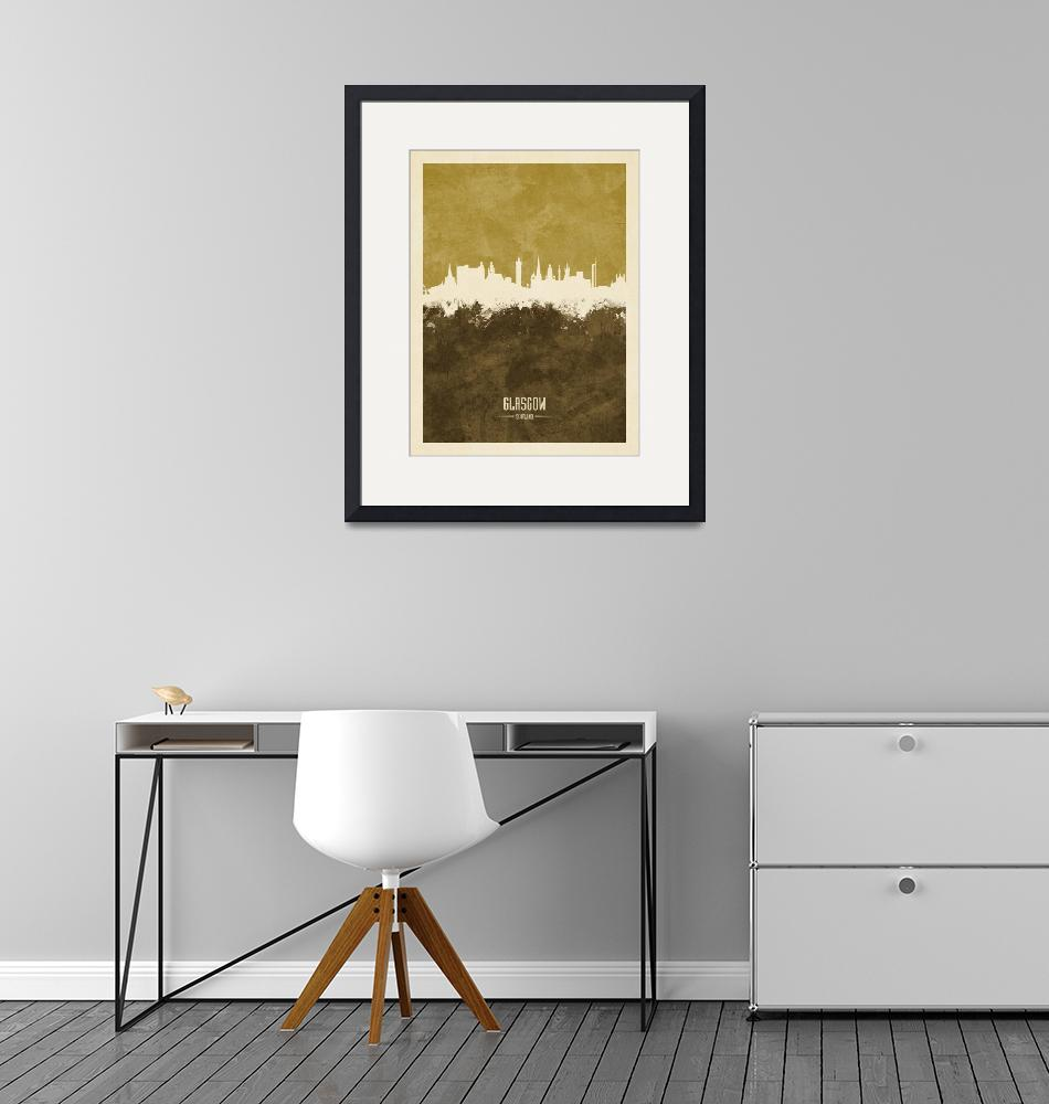 """Glasgow Scotland Skyline""  (2018) by ModernArtPrints"