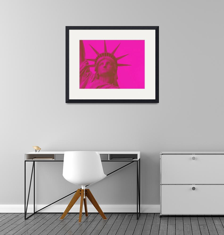 """statue of liberty in pink 2""  by motionage"