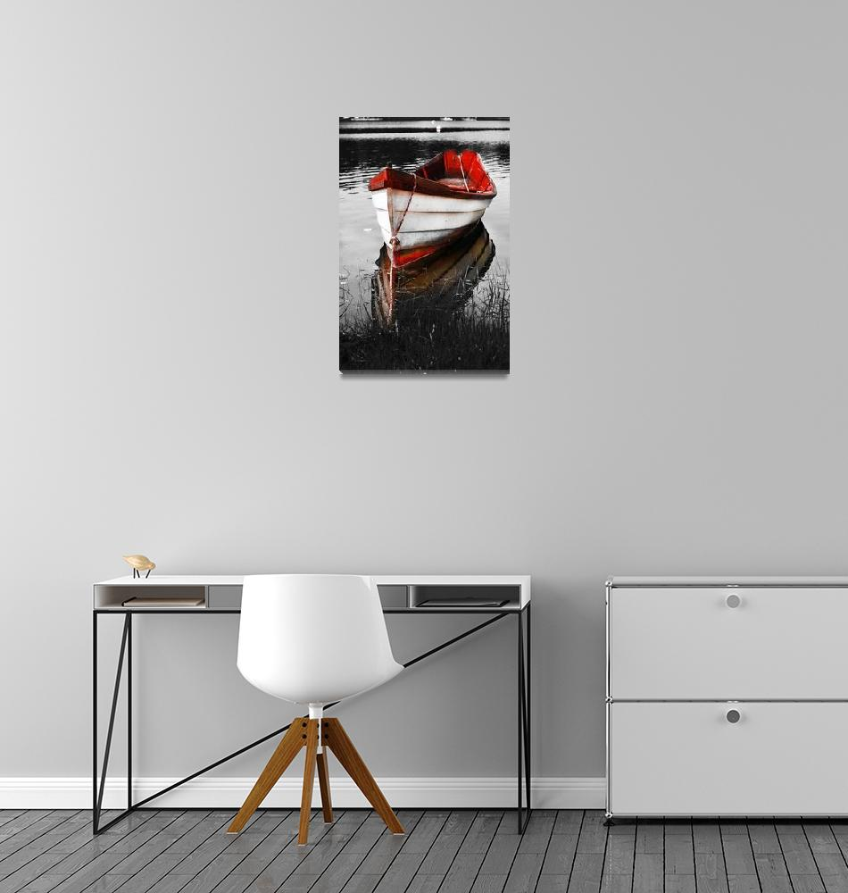 """Black and White Red Boat""  (2008) by Black_White_Photos"