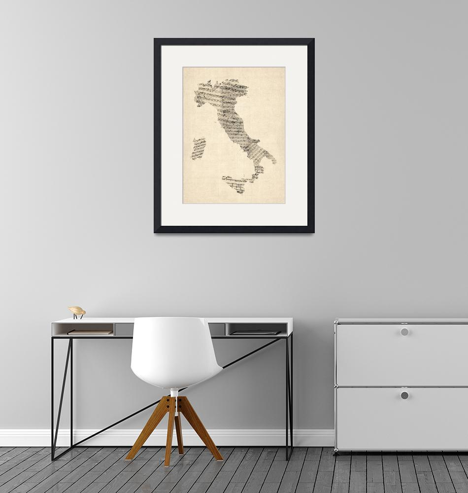 """""""Old Sheet Music Map of Italy Map"""" (2012) by ModernArtPrints"""