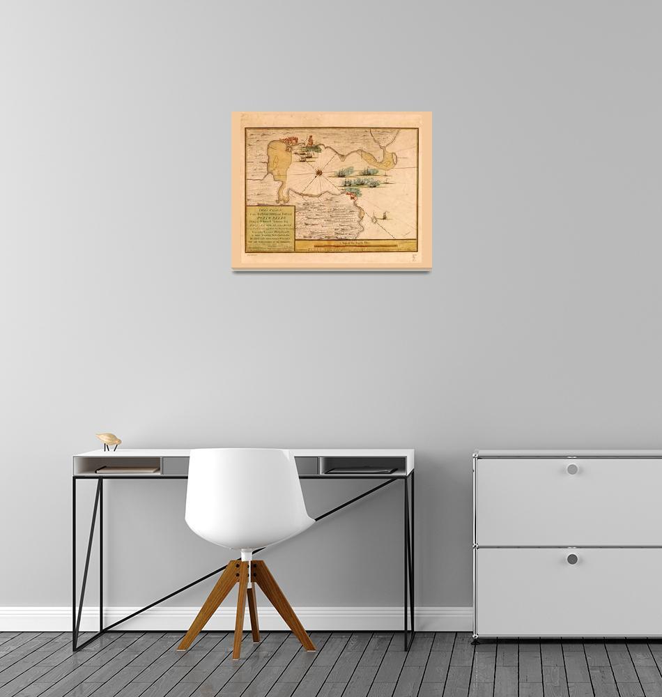 """Map of Portobelo Bay, Panama (1740)""  by ArtHistory"