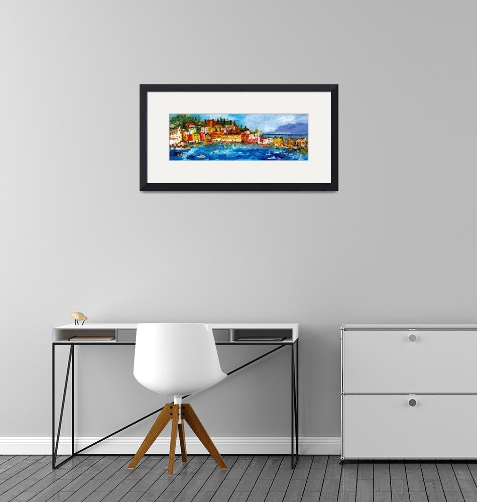 """""""Abstract Panoramic Italian Seascape Sestri Levante""""  (2013) by GinetteCallaway"""