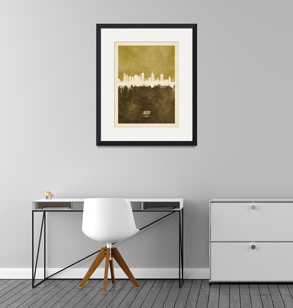 """Lagos Nigeria Skyline""  (2020) by ModernArtPrints"