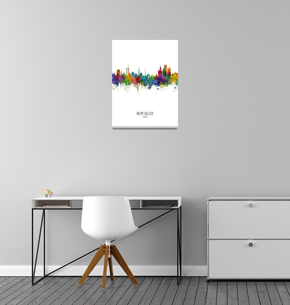"""New Delhi India Skyline""  (2018) by ModernArtPrints"