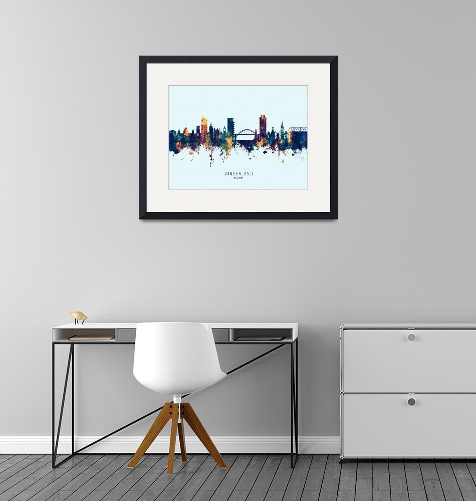 """Sunderland England Skyline""  (2019) by ModernArtPrints"