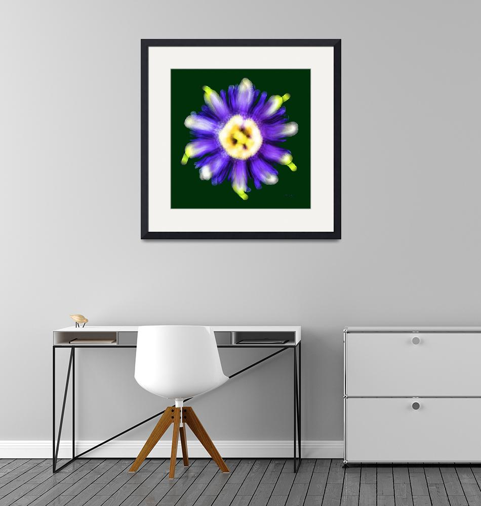 """Abstract Passion Flower Violet Blue Green 002g""  (2018) by Ricardos"
