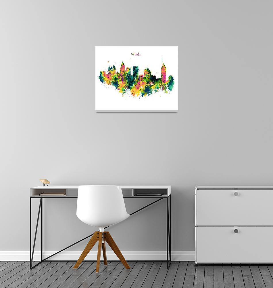 """""""Atlanta Watercolor Skyline""""  (2015) by MarianVoicu"""
