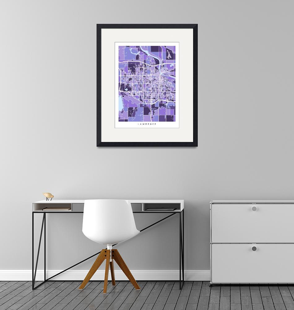 """Lawrence Kansas City Map""  (2018) by ModernArtPrints"