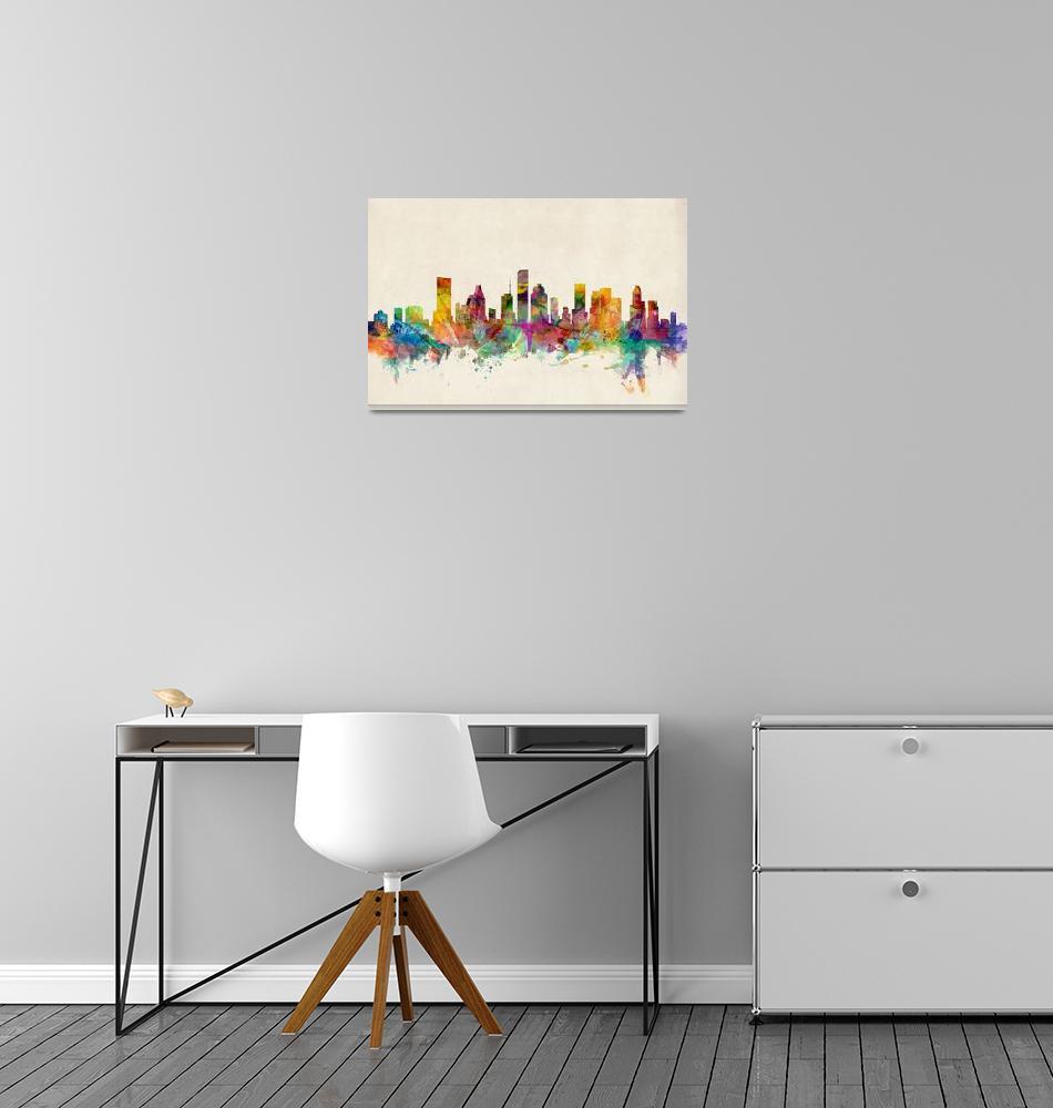 """Houston Texas Skyline""  (2013) by ModernArtPrints"