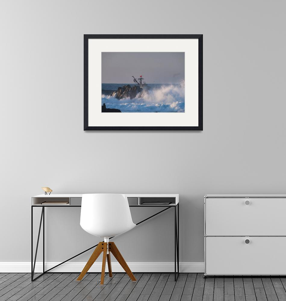 """""""Storm Waves and Fishing Boat""""  (2019) by SederquistPhotography"""