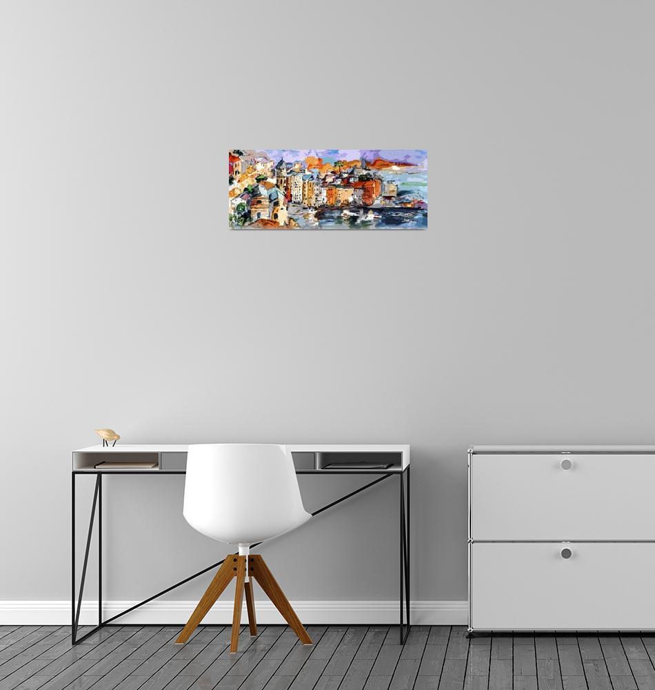 """Vernazza Dolce Vita Panorama Mixed Media""  (2017) by GinetteCallaway"