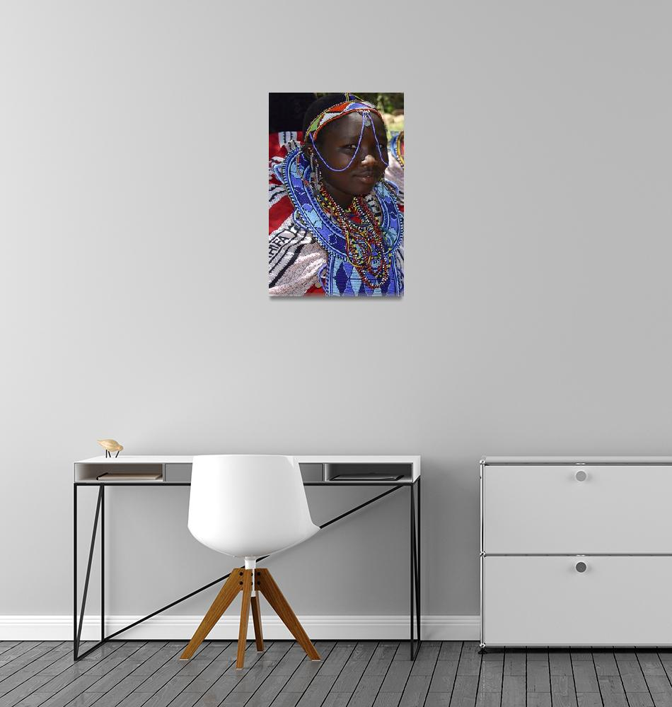 """Kenya 2004 Maasai Girl Adorned gloriousjourneyphot""  by gloria_garrett"