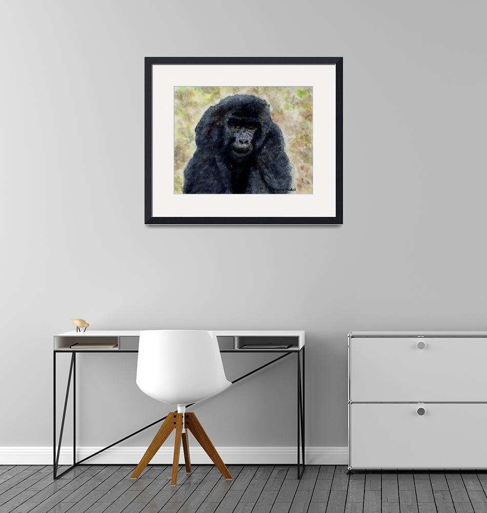 """""""Curious_Young_Male_Gorilla""""  (2004) by DianaNadalFineArt"""