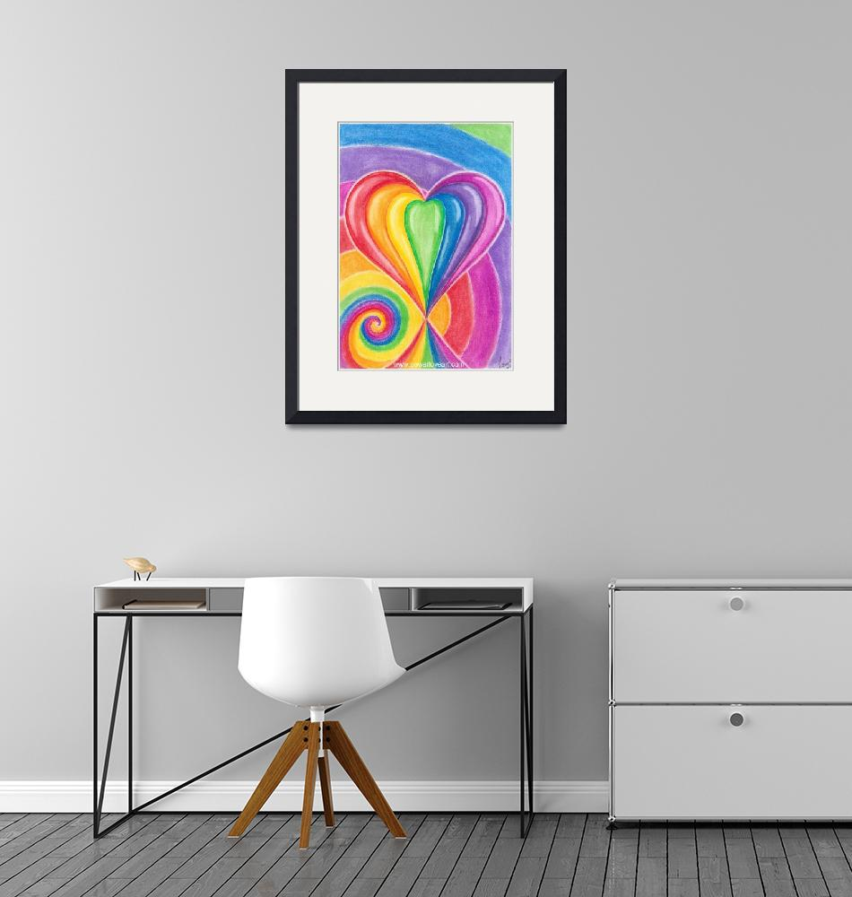 """""""rainbow-love-heart-with-spiral-for-kids-art""""  by Francescaloveartist"""