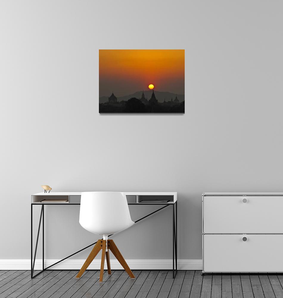 """""""Sunset in Bagan, Myanmar, Burma""""  (2012) by veitschuetz"""