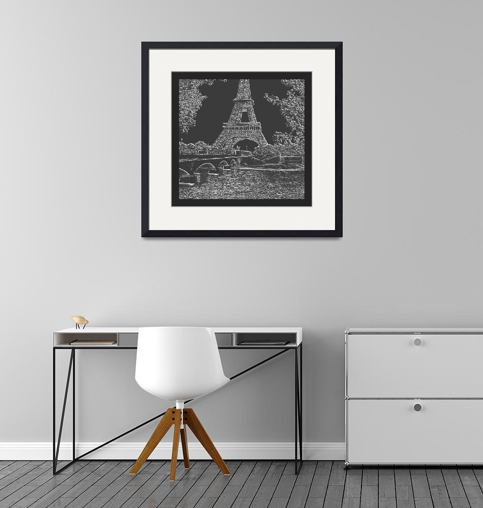 """""""Eiffel Tower Seine River Charcoal Neg Cropped X 2""""  (2013) by TheNorthernTerritory"""