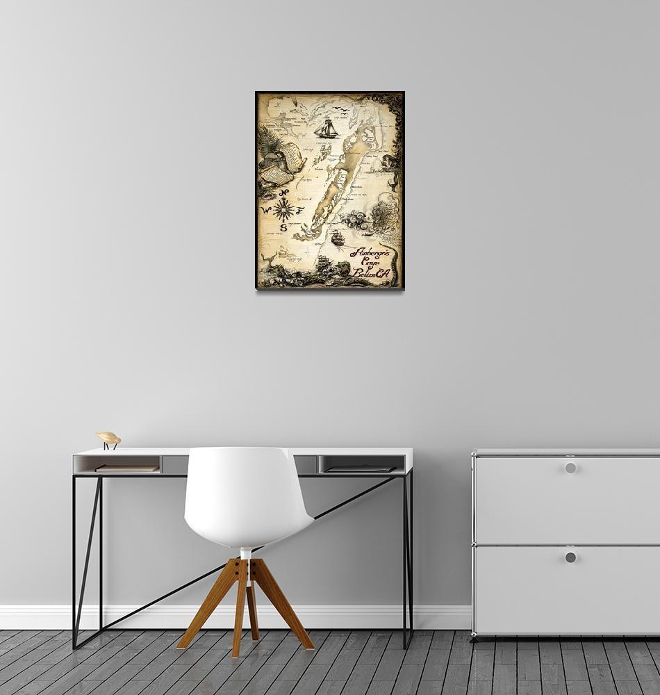 """""""Ambergris Caye, Belize Nautical Chart""""  by savanna"""