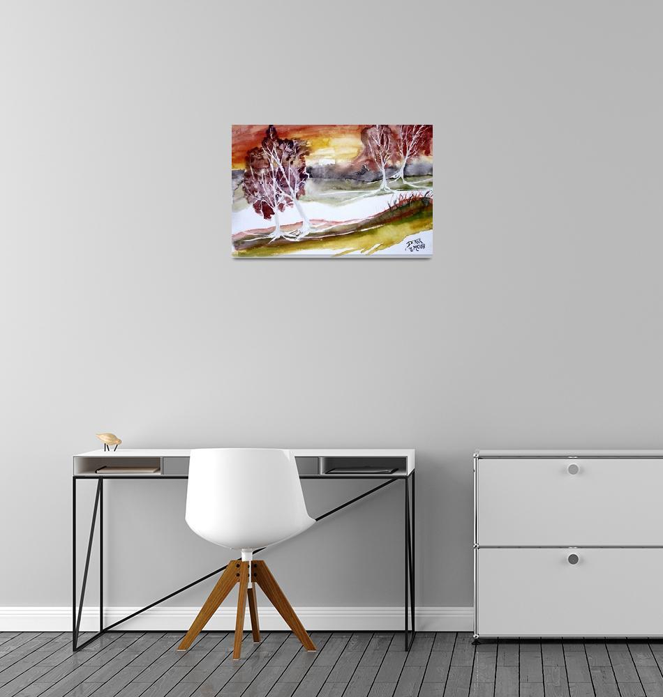 """""""sunrise modern landscape art"""" (2001) by derekmccrea"""