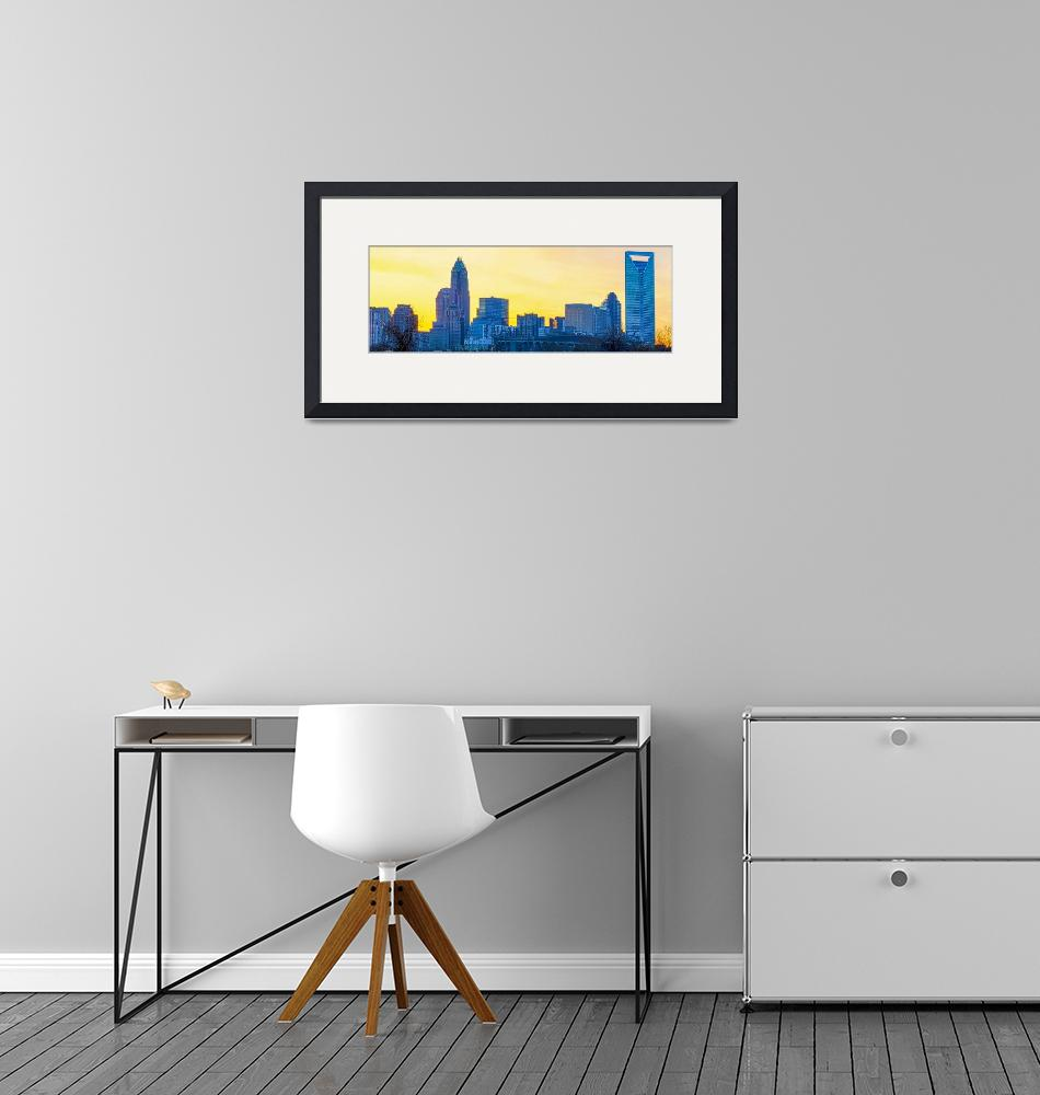 """""""early morning sunrise over charlotte city skyline""""  by digidreamgrafix"""