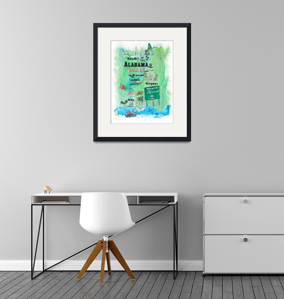 """""""USA Alabama State Travel Poster Map with Tourist H""""  (2019) by arthop77"""