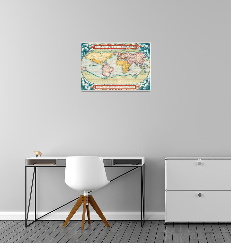 """""""Worldmap, Europe, Asia, Africa, America and portra""""  by motionage"""