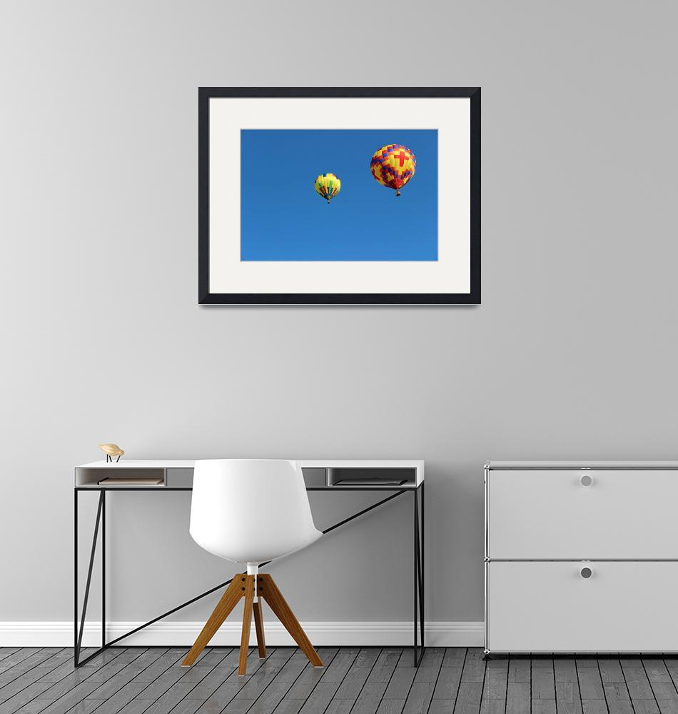 """Two Yellow Hot Air Balloons Horizontal""  (2015) by KsWorldArt"
