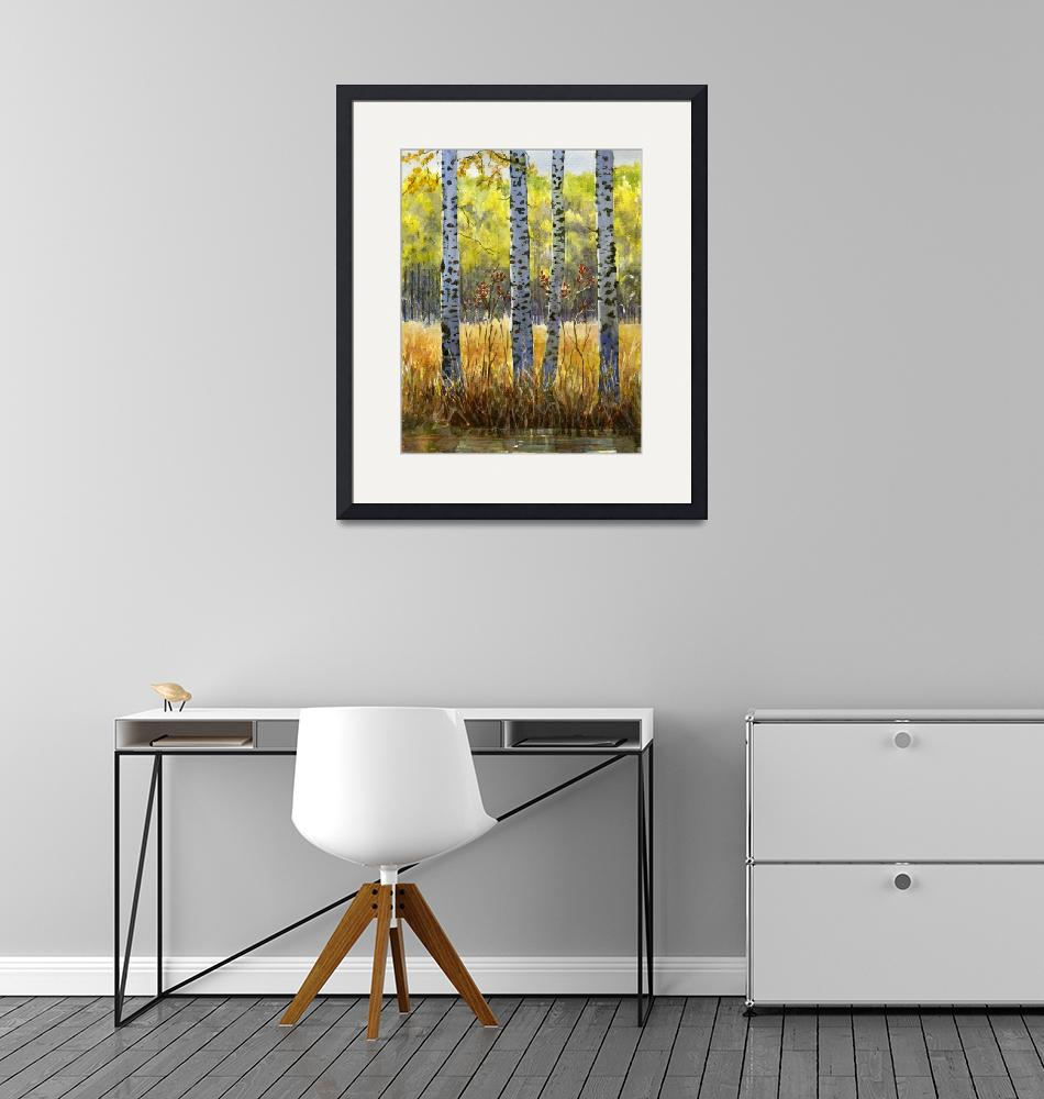 """""""Autumn Birch Trees in Shadow"""" (2014) by Pacific-NW-Watercolors"""