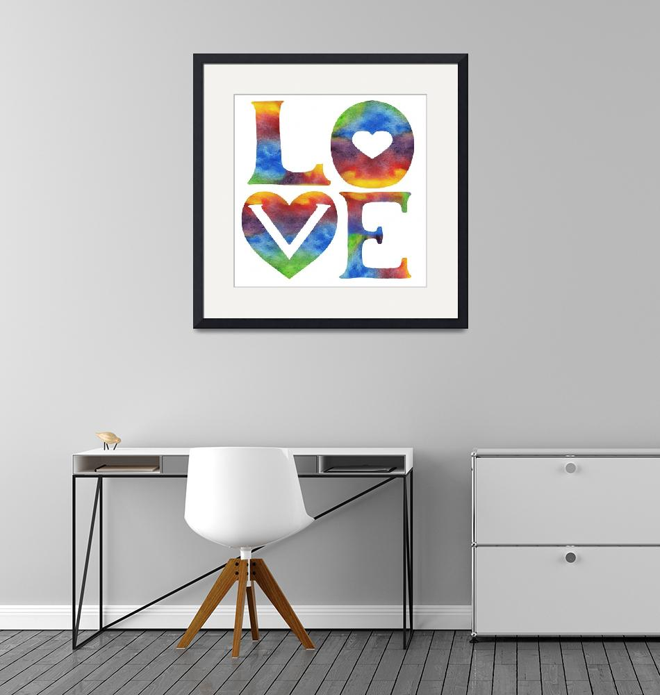 """""""LOVE Sign Watercolor Word And Letters Hearts""""  (2019) by IrinaSztukowski"""
