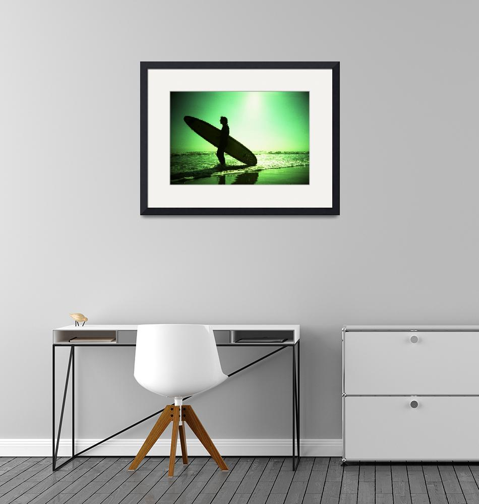 """""""Surfer carrying surfboard in surreal silhouette in""""  (2007) by edwardolive"""