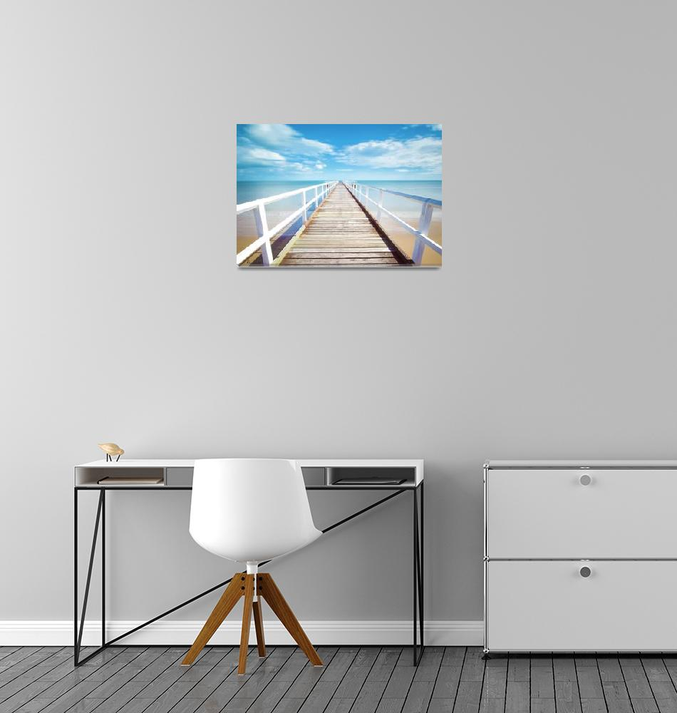 """Treasue Coast Florida Pier Seascape C2""  (2015) by Ricardos"