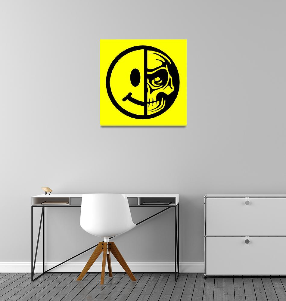"""""""Smiley Face Skull Yellow Red""""  (2015) by RubinoFineArt"""