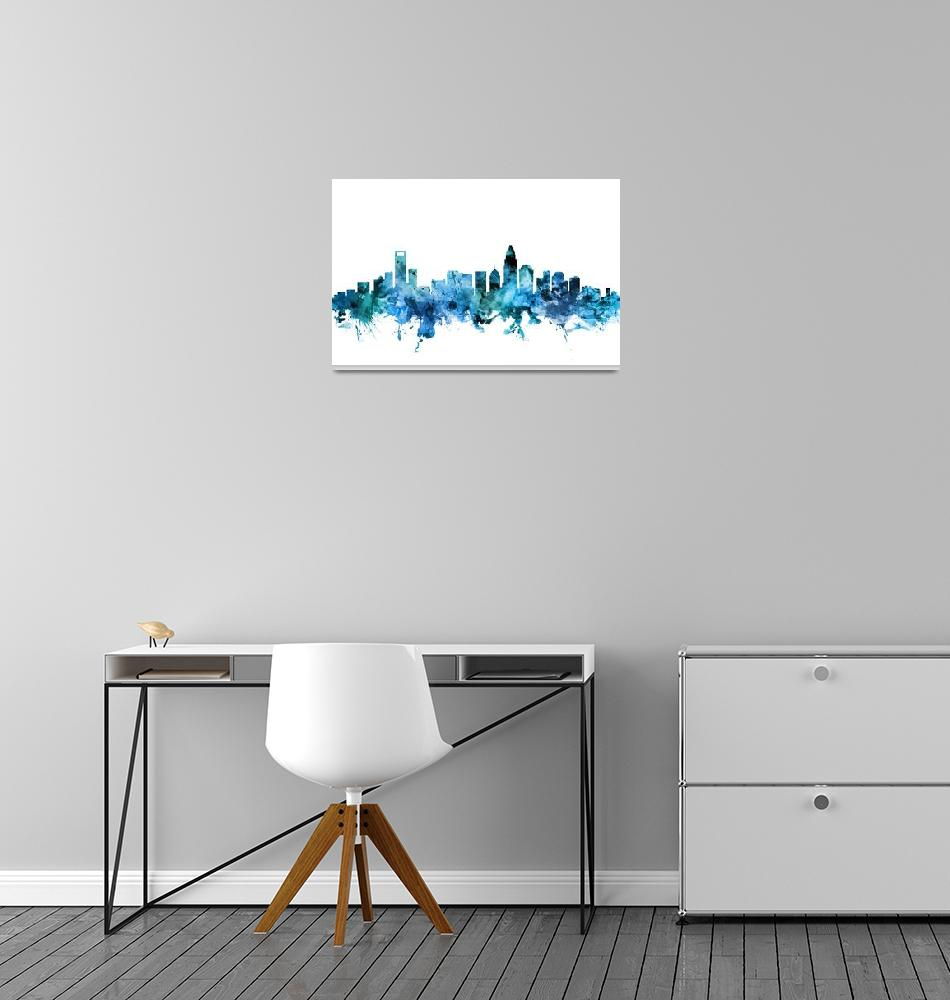 """Charlotte North Carolina Skyline""  (2018) by ModernArtPrints"