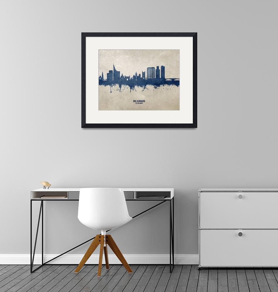 """Reading England Skyline""  (2020) by ModernArtPrints"