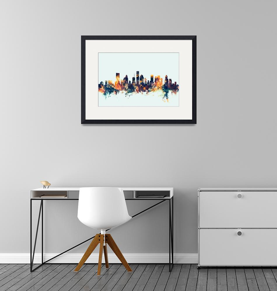 """Houston Texas Skyline""  (2015) by ModernArtPrints"