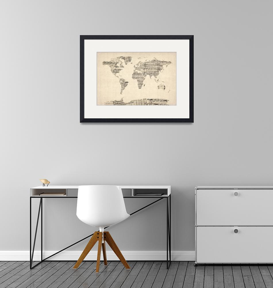"""Map of the World Map from Old Sheet Music""  (2012) by ModernArtPrints"
