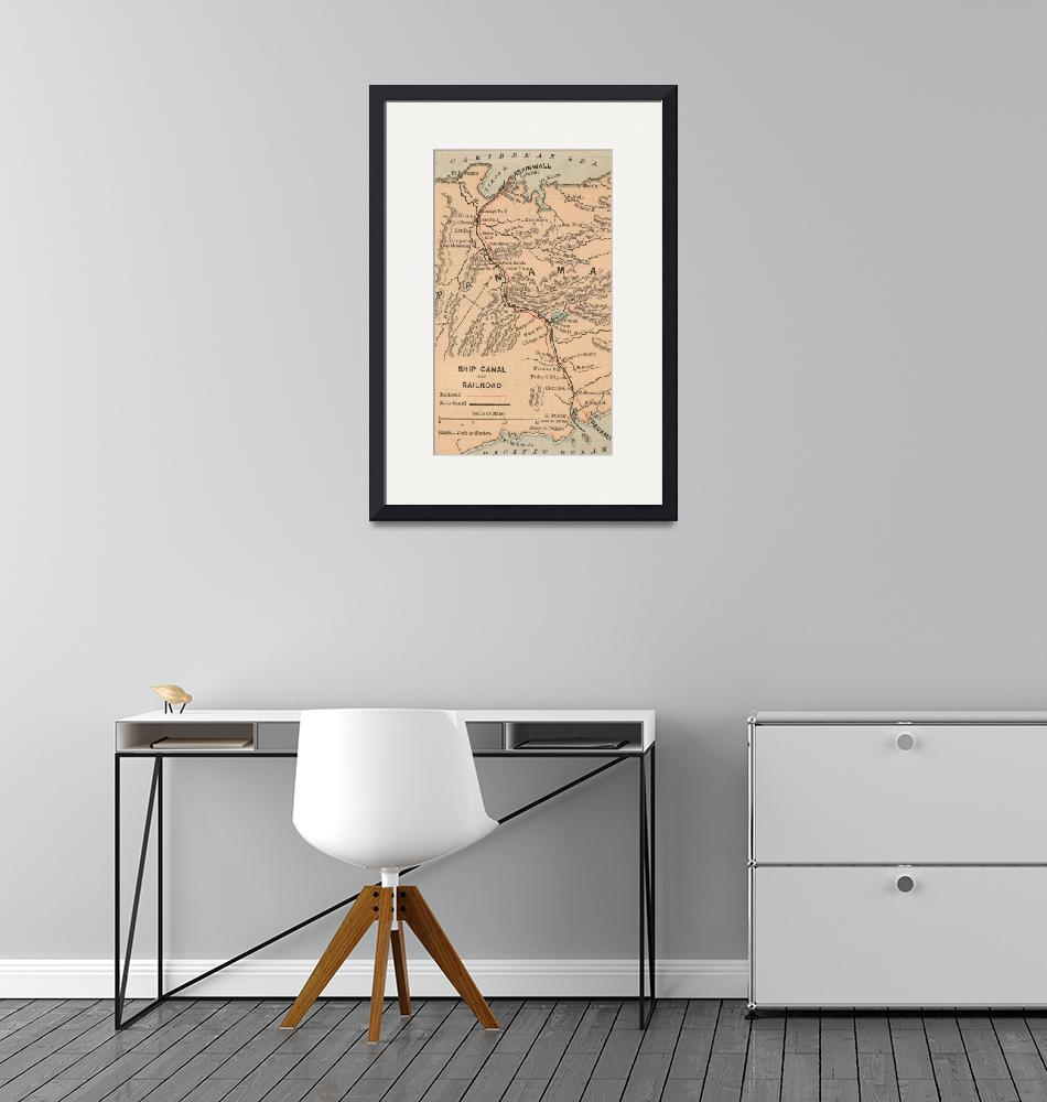"""""""Vintage Map of The Panama Canal (1885)""""  by Alleycatshirts"""