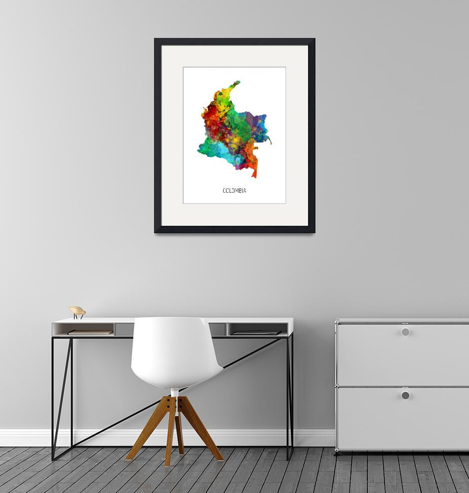 """""""Colombia Watercolor Map""""  (2019) by ModernArtPrints"""
