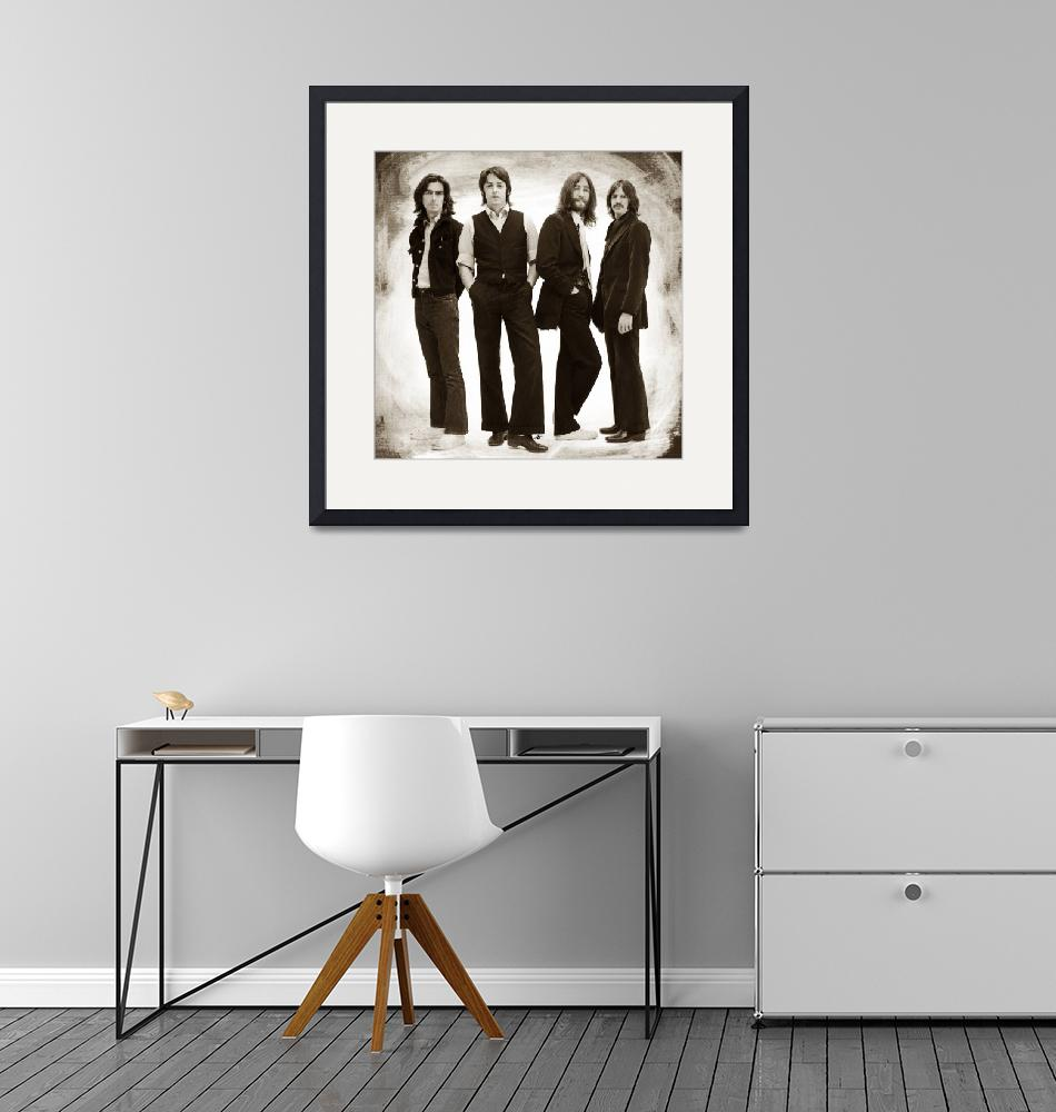 """The Beatles Painting Late 1960s Early 1970s Sepia""  by RubinoFineArt"