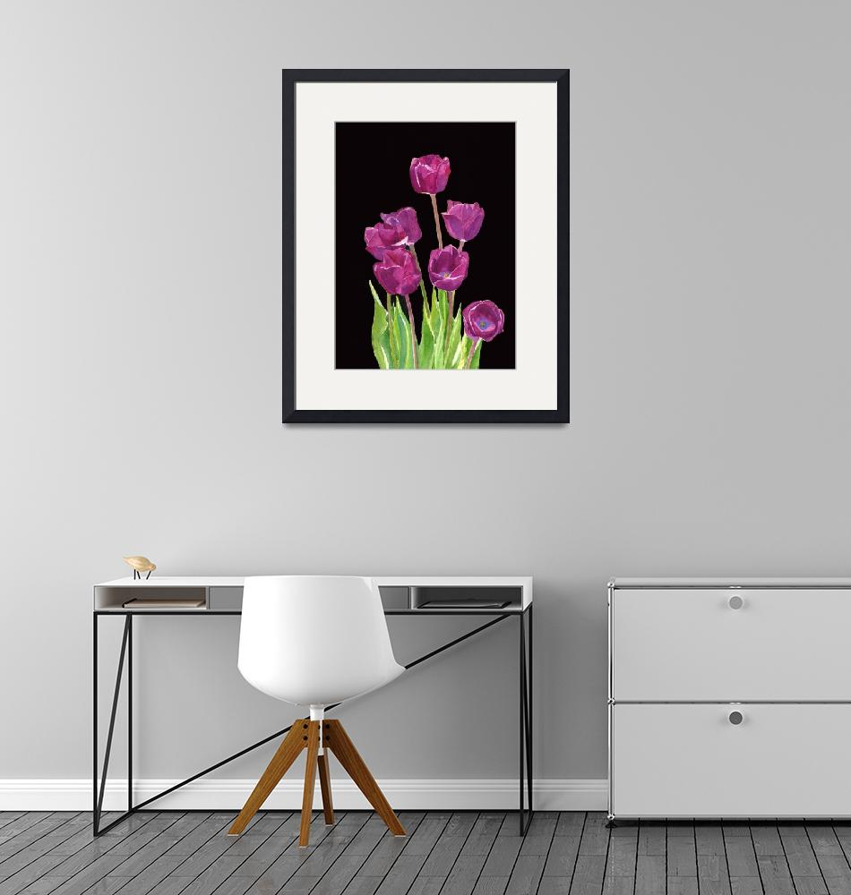 """""""Red Violet Tulips with Black Background""""  (2014) by Pacific-NW-Watercolors"""
