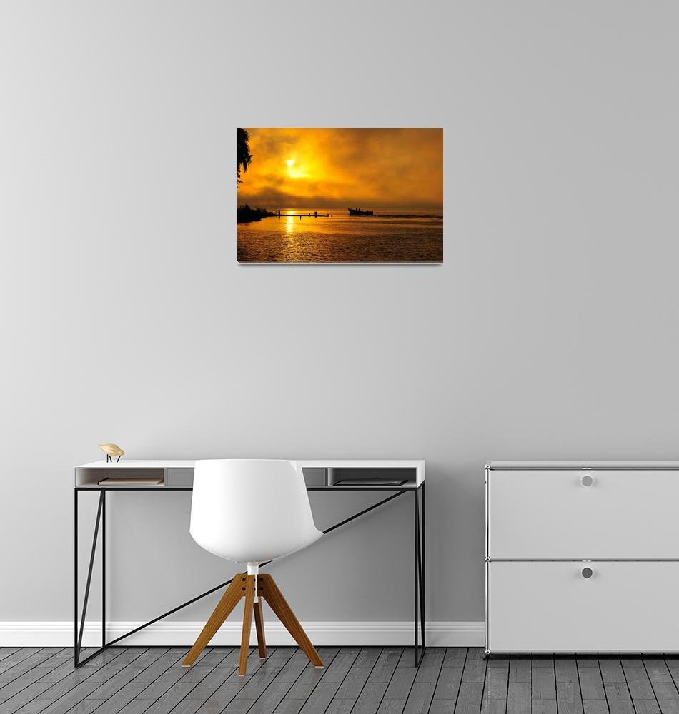 """Suriname photo - Boating at sunrise""  (2008) by suriname"