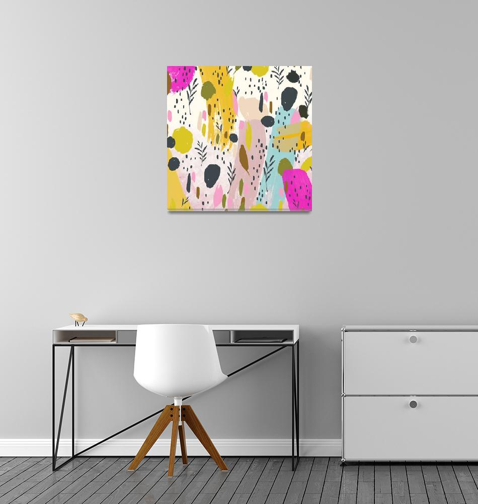 """""""Pink And Yellow Trendy Modern Abstract Art""""  by fineartgallery"""