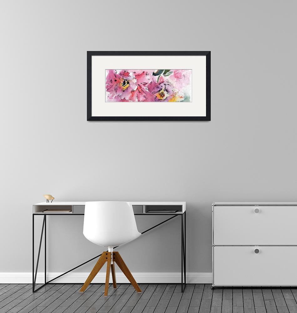 """""""Modern Floral Landscape Pink Camellia""""  (2016) by GinetteCallaway"""