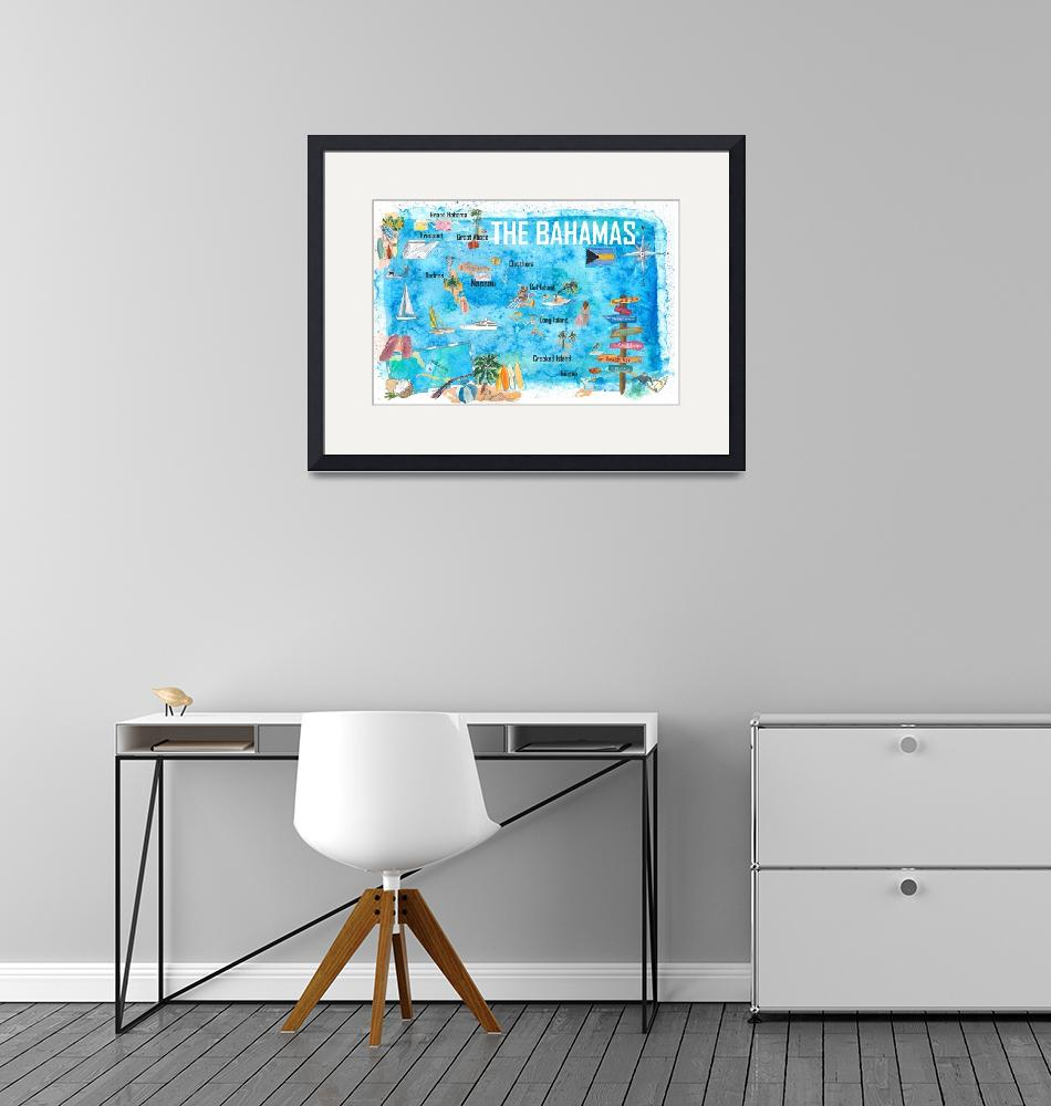 """""""The Bahamas Illustrated Map with Main Roads Landma""""  (2020) by arthop77"""