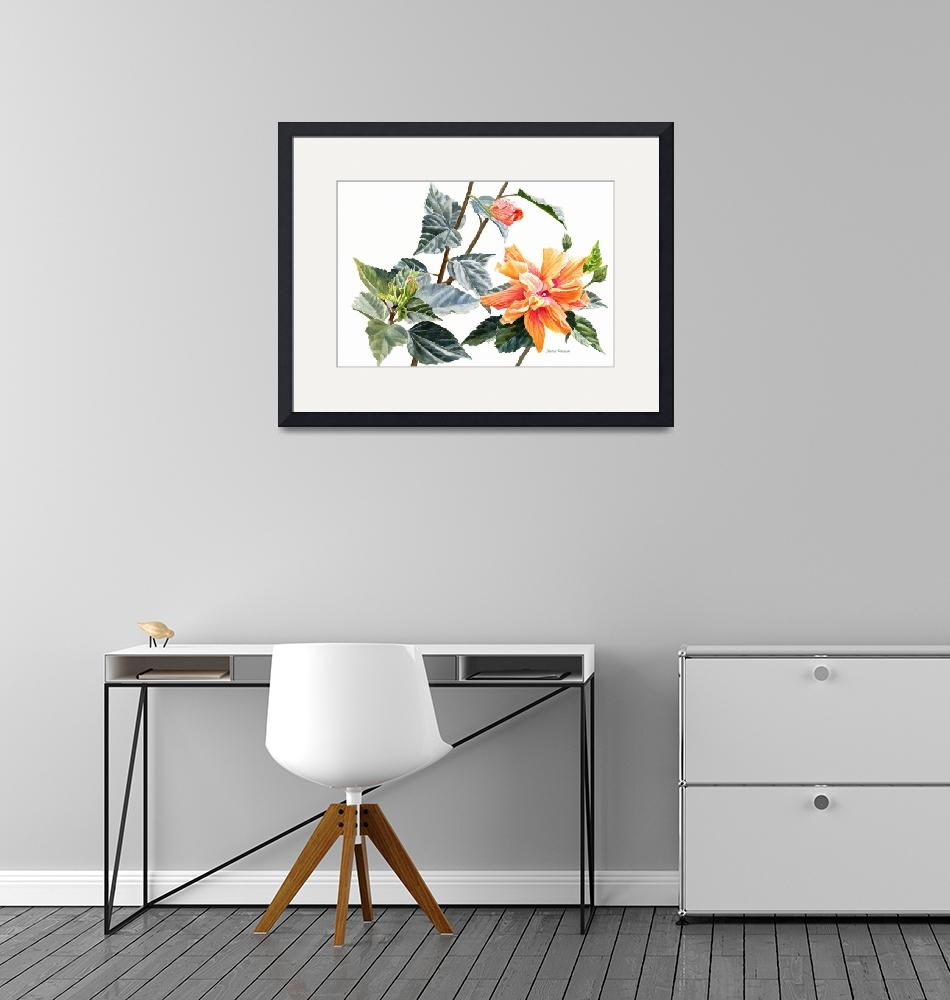 """""""Double Orange Hibiscus with Buds"""" (2018) by Pacific-NW-Watercolors"""