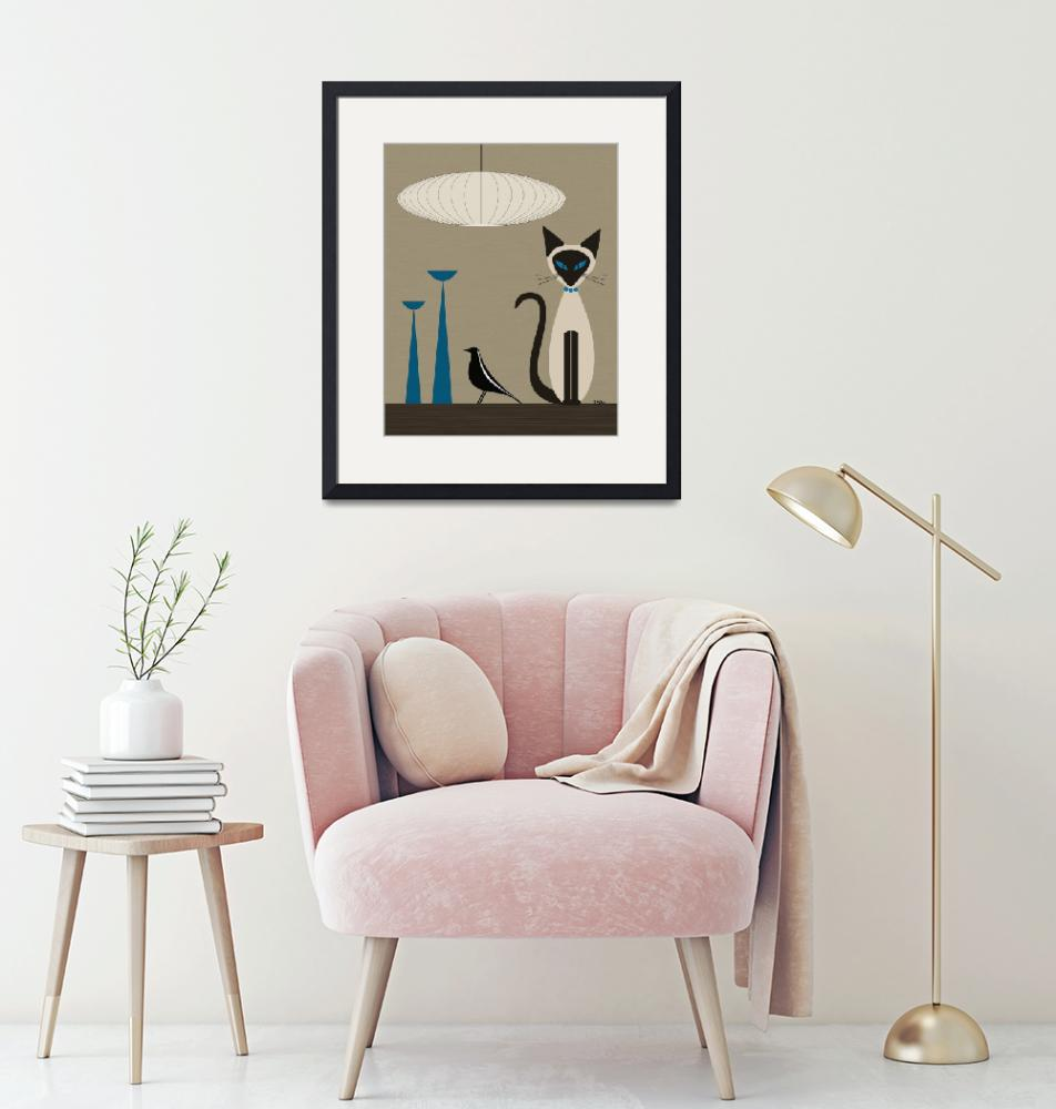 """""""Siamese with Eames House Bird""""  by DMibus"""