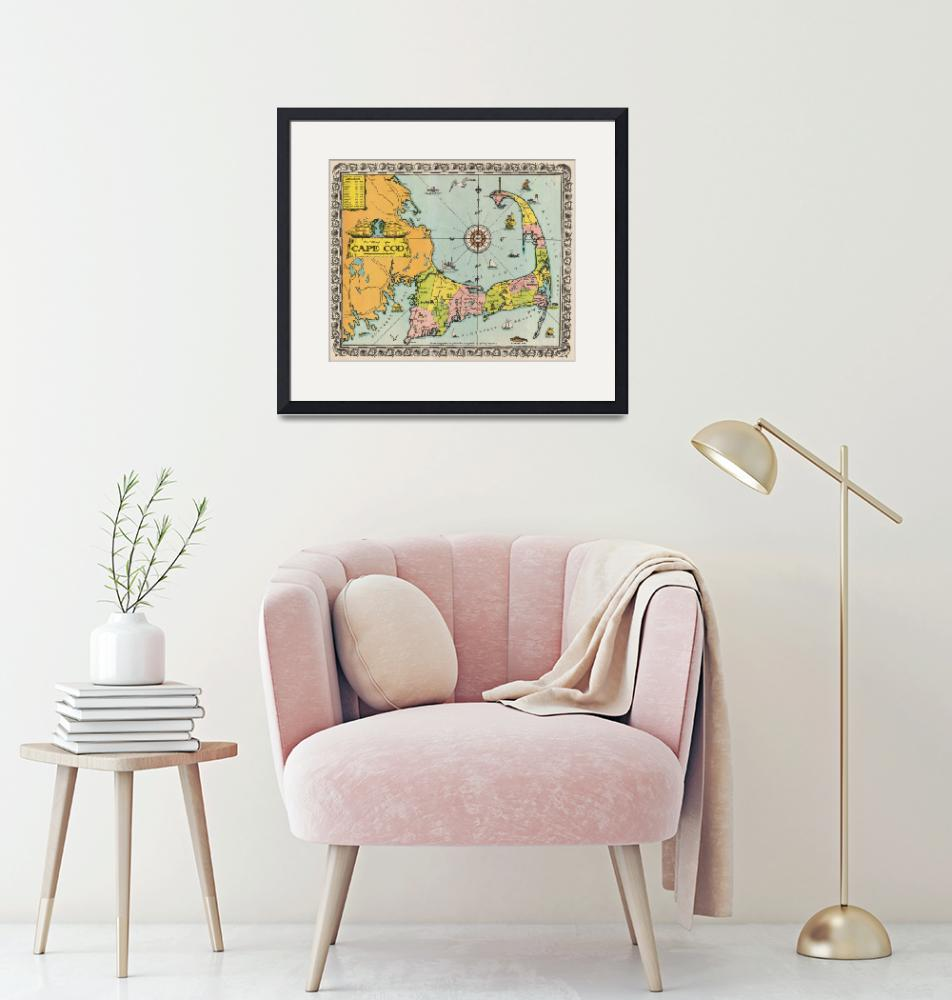 """""""Vintage Cape Cod Map (1932)""""  (1932) by Alleycatshirts"""