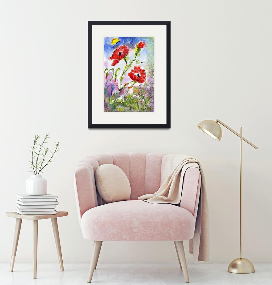 """""""Poppy Flowers and Bees Watercolor by Ginette""""  (2011) by GinetteCallaway"""