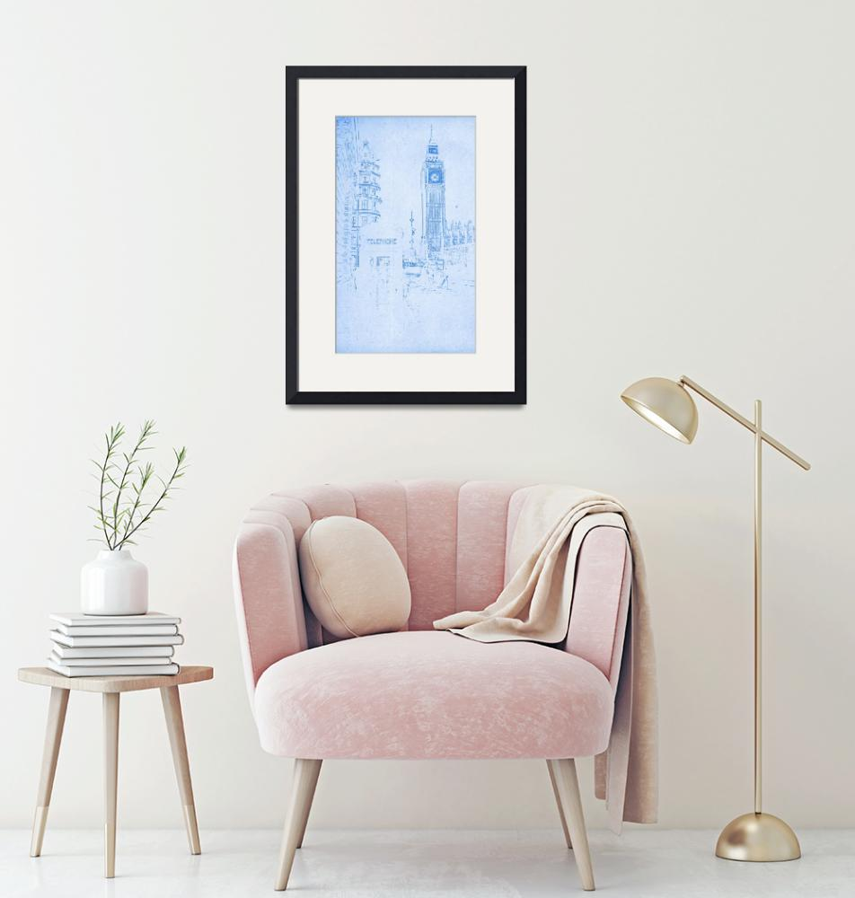 """""""Big Ben in London   - BluePrint Drawing""""  by motionage"""